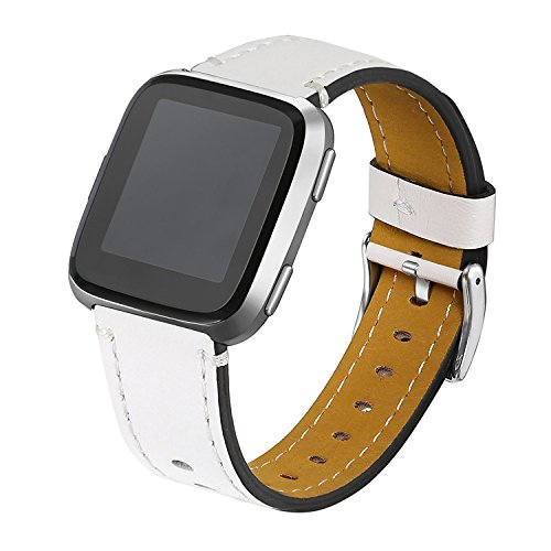 bayite Bands Compatible Fitbit Versa, Classic Genuine Leather Wristband Replacement Accessories Fitness Strap for Versa Women Men, White