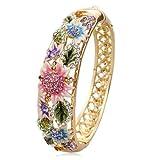 18K Gold Plate Cloisonné Enamel Flowers Bangle Bracelet -BGG092