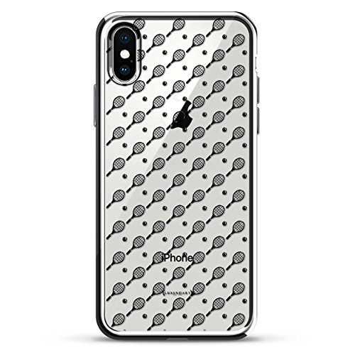 - Luxendary Tennis Racket and Ball Pattern 3D Texture Printed Design On High-End Case for iPhone X - Chrome/Silver