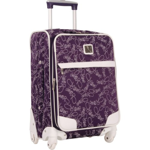 Diane Von Furstenberg Luggage Color On The Go 20 Inch Custom Expandable Spinner, Purple/White, One Size, Bags Central