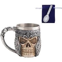Gothic 3D Skull Coffee Mug -- Stainless Steel Drinking Cup Mug for Beverage,Coffee,Beer,Blood Juice, Medieval Viking Warrior Skull Armor Drinkware Mug, Halloween Decor, Party Trick Cup