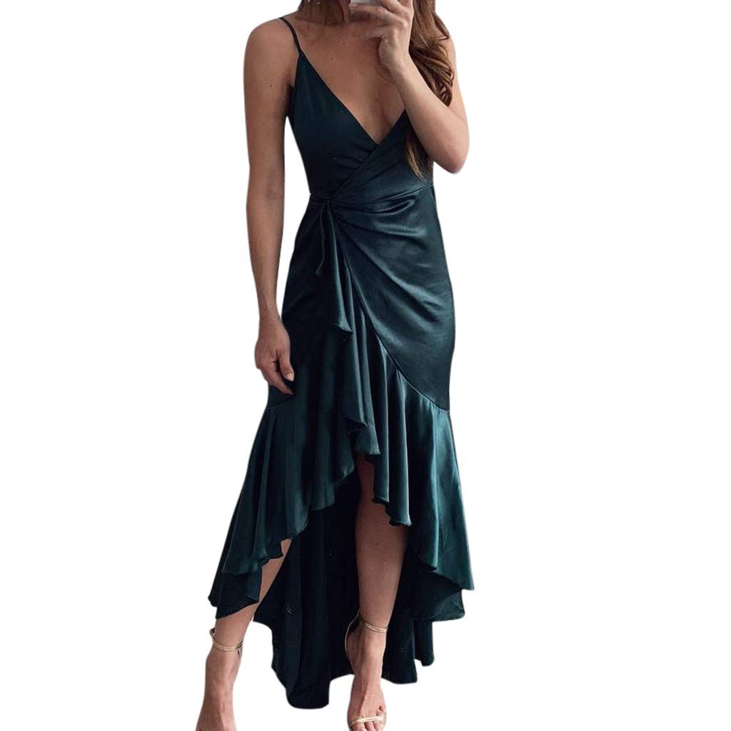 CHLZYD Womens Solid Bandage Irregularity Long Dress Ladies V-Neck Party Dress Green