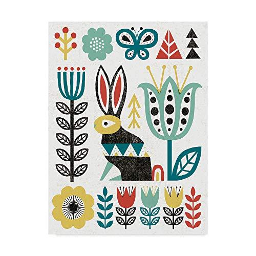 Trademark Fine Art Folk Lodge Rabbit V2 Teal by Michael Mullan, 14x19-Inch