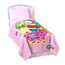 "Shopkins 'Shopping Cart Fun' Fleece 62"" X 90"" Twin Blanket"