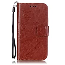 For Motorola Moto E 2 (2nd gen)/E2 /XT1527 / XT1511 / XT1505 / XT1524 Cases Protective Cover PU Leather Wallet Phone Case Magnetic Clasp Retro Simple Beautiful Fashion lanyard 3D Brown