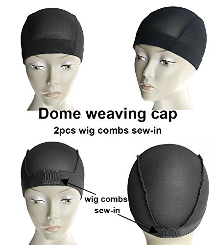 MsFenda 3pcs/lot with 2 Wig Combs Sew-in Black Color Lace Wig Making Cap, Dome Weaving Net Cap(3pcs/lot) by Ms Fenda