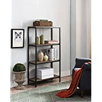 Kings Brand Furniture Grey Finish Wood & Black Metal 4 Tier Shelf Storage Bookcase