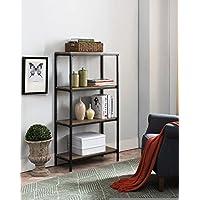 Kings Brand Furniture Grey Finish Wood & Black Metal 4 Tier Shelf Storage Bookcase
