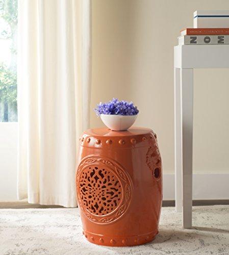 - Safavieh Castle Gardens Collection Flower Drum Orange Glazed Ceramic Garden Stool