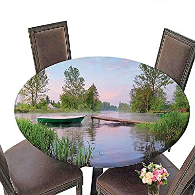 """Round Tablecloth(Elastic Edge) Suitable for All Occasions, (29.5"""" Round) Lake House Decor Rural Landscape on Lakeside Boat Trees Grass Clouds and Boardwalk Countryside Green Blue Brown."""