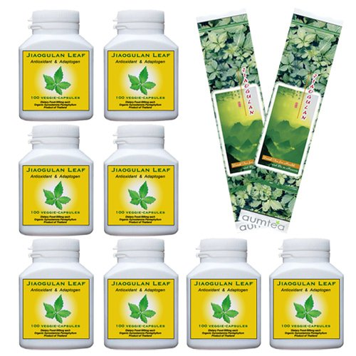 8 Bottles   Jiaogulan 100% Organic   100 Veggie Capsules   FREE Shipping   30% Off   Plus 2 30g Tea Samples Valued @ .95 Each   And 15 Page Mini-Booket with 18 Jiaogulan Q&A's