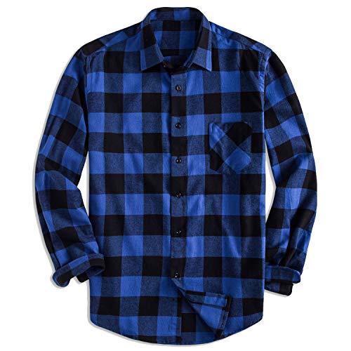 (Yangxinyuan Men's Cotton Long Sleeve Plaid Fleece Shirt Button Up Flannel Shirt (DTF04, XL))