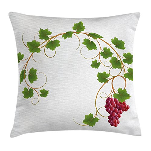 Ambesonne Vineyard Throw Pillow Cushion Cover, Curved Ivy Branch Deciduous Woody Wines Seeds Clusters Cabernet Theme Print, Decorative Square Accent Pillow Case, 26
