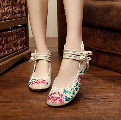 Y & M Logos Chaussures, lin, Semelle Tendon, ethnique, Femme Chaussures, Mode, confortable, Sandales pour femme beige