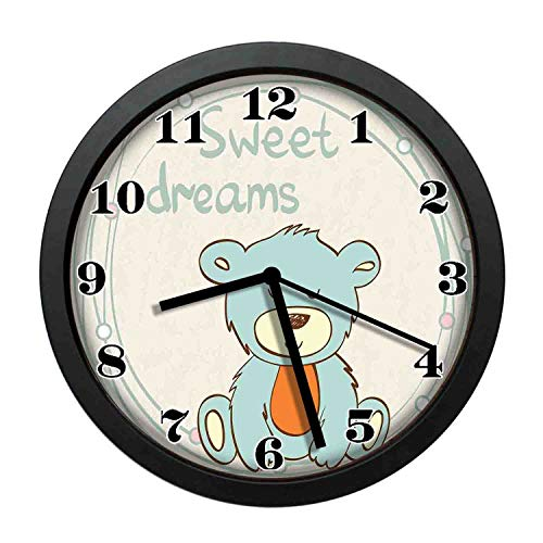 (wojuedehuidamai6 Art Wall Clock- Teddy Bear Hand Drawn Cartoon Illustration Circles Background Decor Wall Clock for Home and Office with 10in)