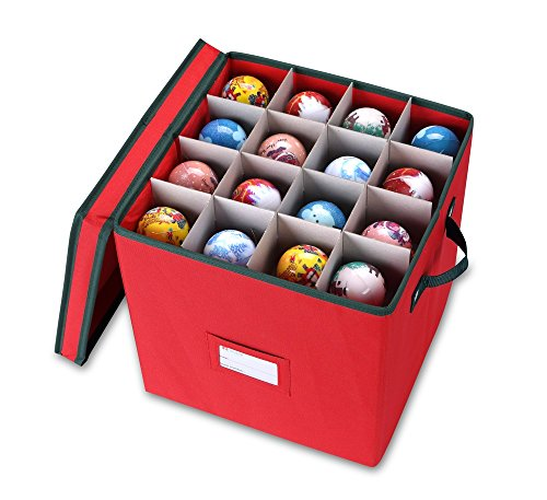 Primode Holiday Ornament Storage Chest, With 4 Trays Holds Up to 64 Ornaments Balls, With Dividers (Red) (Cristmas Balls)