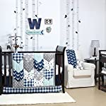 Woodland-Trail-Animal-Silhouette-Navy-Aqua-Grey-Forest-Theme-Fitted-Crib-Sheet