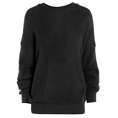 Jersey de punto para mujer, de gran tamaño negro