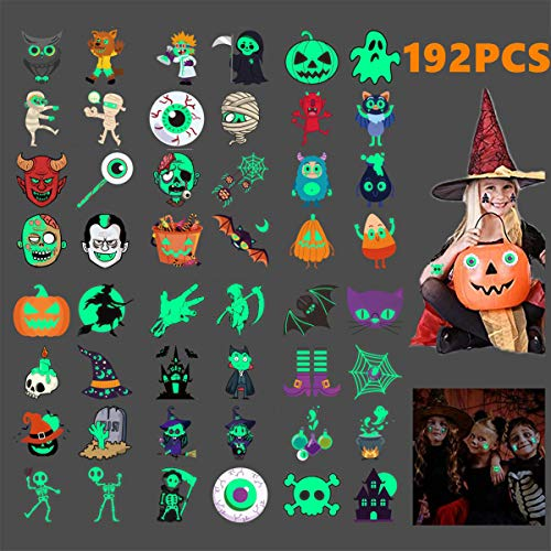 Halloween Party For Children (192pcs Assorted Halloween Tattoos for Kids, Temporary Tattoos for Kids, 48 Designs Glow in the Dark for Halloween Party Favor Trick or Treat Gifts Candy Bag Ghost, Skeleton Pumpkin, Witch)