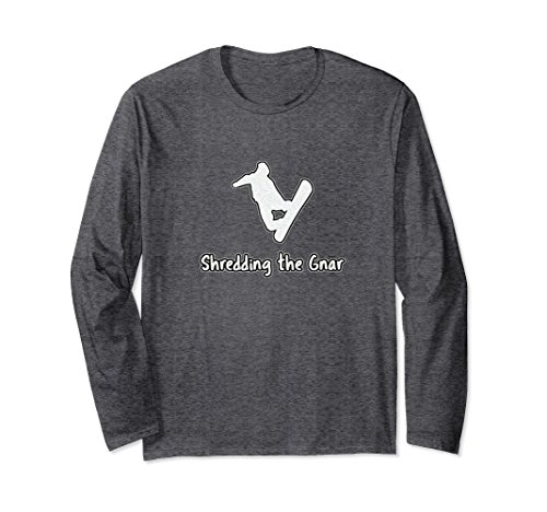 Unisex Snowboarding T Shirt -Shredding the Gnar 2XL Dark Heather