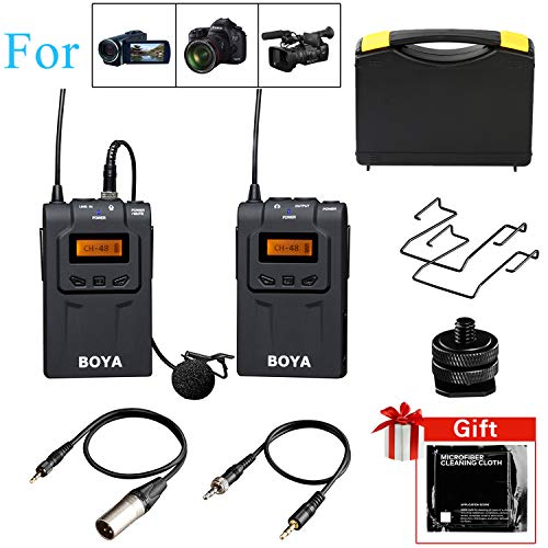 (Wireless Lavalier Microphone DSLR, BOYA by-WM6 UHF Omni-Directional Lapel Mic System with XLR & 3.5mm Cables for Canon 6D Nikon Camera Sony Camcorders Recorder DV YouTube Video Facebook Livestream)