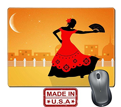 "Flamenco Dancer Costume Ideas (Liili Natural Rubber Mouse Pad/Mat with Stitched Edges 9.8"" x 7.9"" Illustration of flamenco dancer Image ID 21730599)"