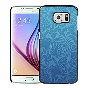 Fashionable Custom Designed Samsung Galaxy S6 Phone Case With Leaves Pattern Blue_Black Phone Case