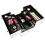 Korie Makeup Train Travel Case with Shoulder Strap,3-Tier Portable Lockable Cosmetic Jewelry Organizer Box