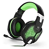 Gaming Headset, Forestfish PC Gaming Headsets Headphone with Built-in Microphone and Volume/ Mute Control 3.5mm Wired Noise Canceling Computer Game Headphone with LED Light, Green