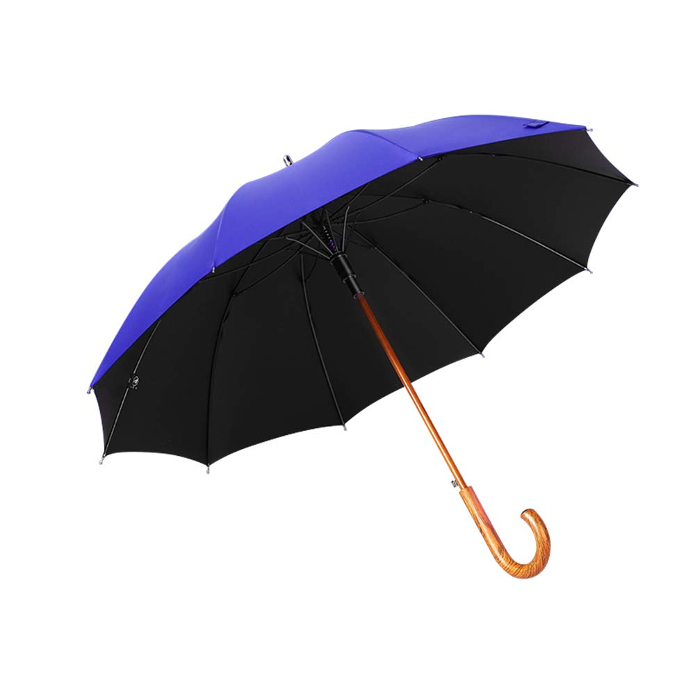 BHXUD 44インチ ゴルフ傘 自動開閉 防風 防水 スティック傘 ビンテージ ソリッド 木製 カーブハンドル ブルー 542-100-678 B07Q833W57 ブルー