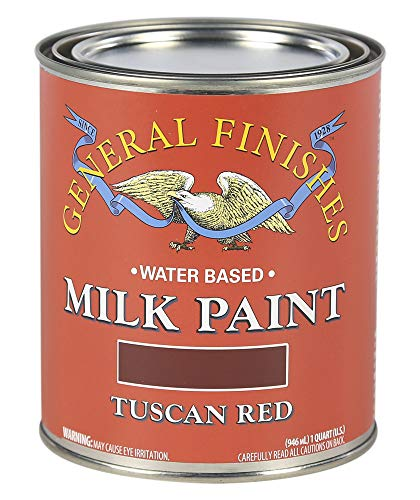 (General Finishes QTTR Water Based Milk Paint, 1 Quart, Tuscan Red)