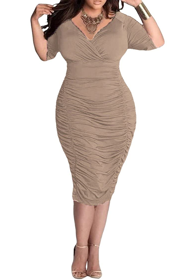 Vertiar Women's 3 4 Sleeve V Neck Party Bodycon Plus Size Rumor Ruched Dress PartialUpdate