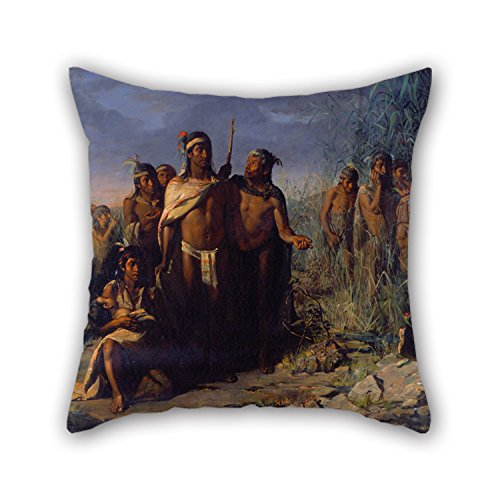 16 X 16 Inches / 40 By 40 Cm Oil Painting José María Jara - The Founding Of Mexico City Throw Pillow Covers ,both Sides Ornament And Gift To Couples,office,divan,boy Friend,bedding,chair
