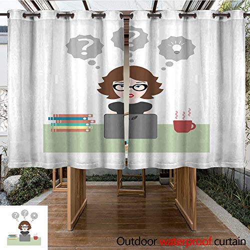 RenteriaDecor Outdoor Curtain for Patio Flat Vector Illustration of Girl in Glasses Sitting at Work at Desk with Laptop Computer with Books W84 x L72