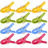 WEBI Chair Clips, Beach Towel Clips Plastic Clamp for Beach Chair, Swimming Pool Stool, Durable Quilt Hanging Clips Clothes Pin to Keep Your Clothes Blanket from Blowing Away, 12 Pack,4 Colors