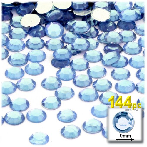 Flat Blue Back Light - The Crafts Outlet 144-Piece Flat Back Round Rhinestones, 9mm, Light Blue