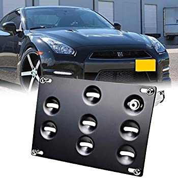 GTP JDM Style Front Bumper Tow Hook License Plate Mounting Bracket Holder Relocator for Nissan 370Z Z34 GTR R35 Sentra Juke/Infiniti G37 2dr Coupe / Q60 ...