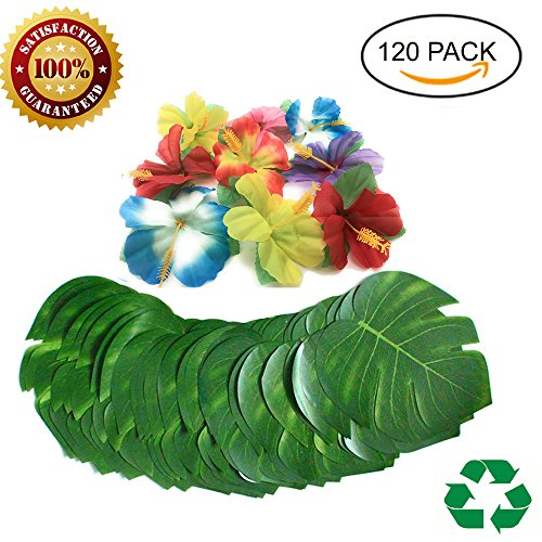 Flowers Aloha Tropical (120 Pcs 8''Tropical palm Leaves and Silk Hibiscus Flowers Tropical Party Supplies, Artificial Monster Simulation Leaves for Hawaiian Luau Party supplies ,Aloha Jungle Beach Theme Table Decorations)