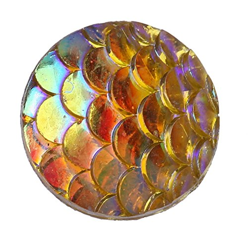 Mikolot 50pcs Fish Scale Convex Side Resin Flatback Buttons Jewelry Accessories(8)