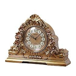 LANNA SHOP- Retro Mantel / Mantle Rhythm Quartz Clock living room desk shelf clocks Decoration ( Color : Bronze )