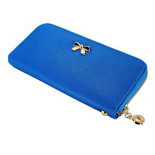 Blue Wallet Womens (GEARONIC TM Women Wallet Long Clutch Faux Leather Card Holder Fashion Hand Purse Lady Woman Handbag Bag Dark Blue)