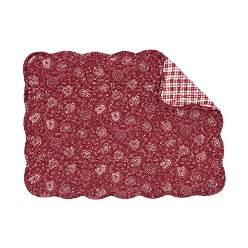 C&F Home Blaire Red Paisley Place Mats Rectangular Cotton Quilted Reversible Washable Placemat Set of 6 Rectangular Placemat Set of 6 Blaire Red
