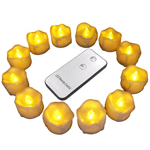 12Pcs LED Tea Lights with Remote Control for Halloween, Parties, Votives, Fall Decor, Diwali, Christmas Decoration, Realistic Flickering Flameless Candles-Amber Yellow, Wax Dripping Look