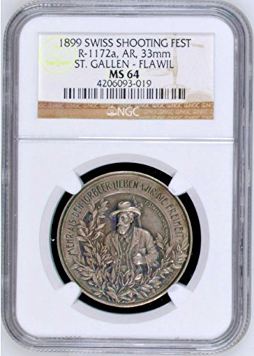 1899 CH Swiss 1899 Silver Shooting Medal St Gallen Flawil coin Good NGC