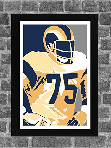 Los Angeles Rams Deacon Jones Portrait Sports Print Art 11x17
