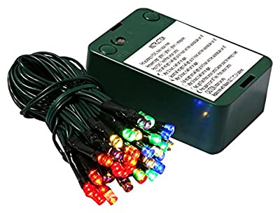 Vickerman 35 Count Battery Operated Wide-Angle LED Light Set with Timer-Green Wire