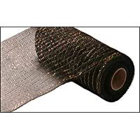 10 Inch x 30 Feet Deco Poly Metallic Mesh Ribbon (Black with Laser Gold Foil) : RE130175