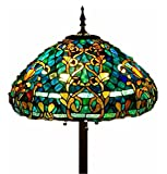 "Tiffany Style Stained Glass Floor Lamp ""Azure Sea"""