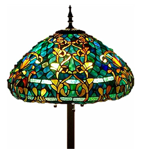 "Tiffany Style Stained Glass Floor Lamp ""Azure Sea"
