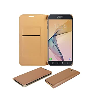 COVERNEW Flip Cover for Samsung Galaxy J7 Prime SM G610FZDDINS   Golden LethherFlipGalaxyJ7PrimeGoldd